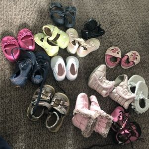 13 pairs 6-12 month girl shoes Robeez Nike fp